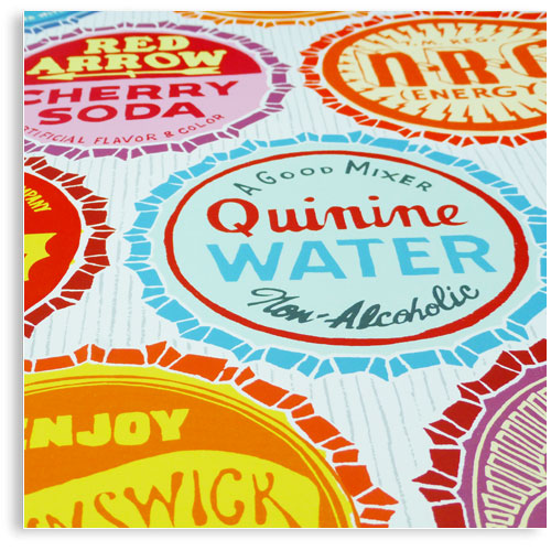 Bottle Tops Limited edition hand printed hand drawn pop art Silk screen prints by Patrick Edgeley
