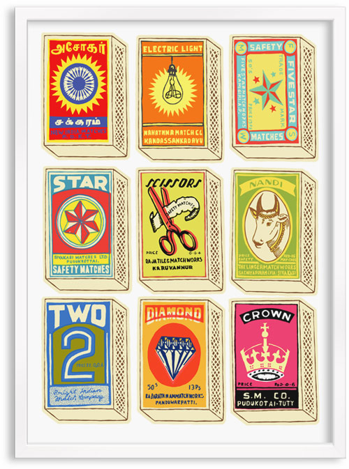 Vintage Matchboxes limited edition hand printed hand drawn pop art Silk screen prints by Patrick Edgeley
