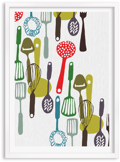 Kitchenware Kitchen Utensils limited edition hand printed hand drawn pop art Silk screen prints by Patrick Edgeley