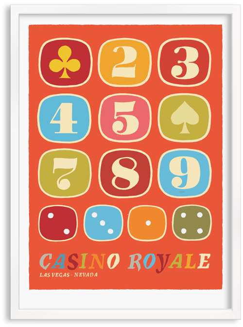 Casino Royal Las Vegas Nervarda limited edition hand printed hand drawn pop art Silk screen prints by Patrick Edgeley