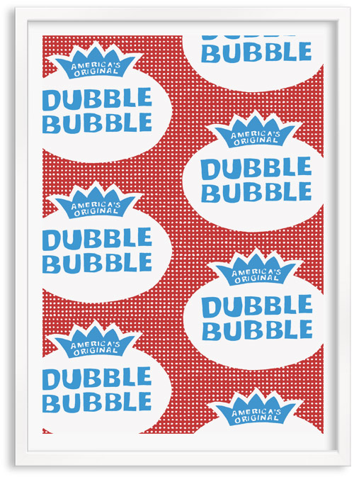 Dubble Bubble retro sweets limited edition hand printed hand drawn pop art Silk screen prints by Patrick Edgeley