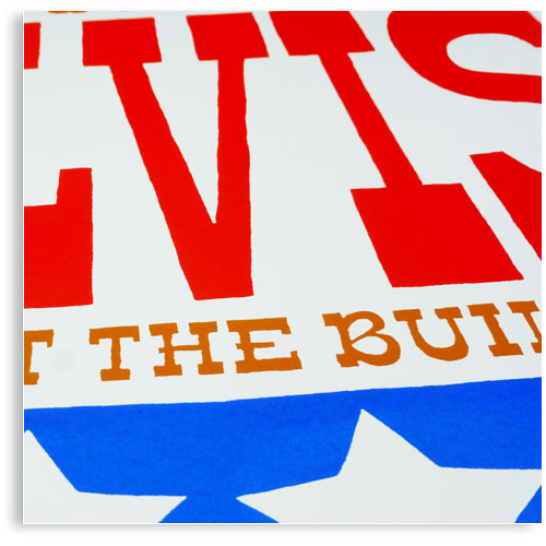 Elvis has left the building limited edition hand printed hand drawn pop art Silk screen prints by Patrick Edgeley