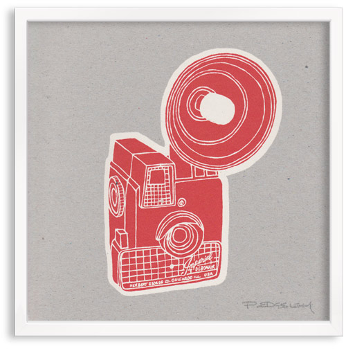 vintage Imperial Camera limited edition hand printed hand drawn pop art Silk screen prints by Patrick Edgeley