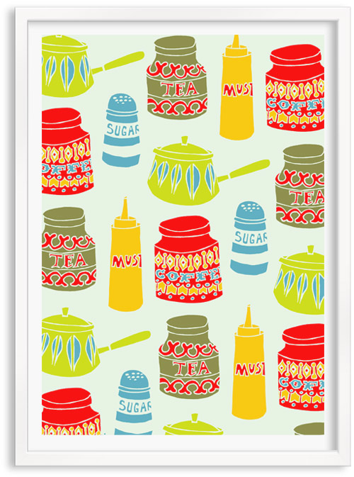 Kitchen Cupboards limited edition hand printed hand drawn pop art Silk screen prints by Patrick Edgeley