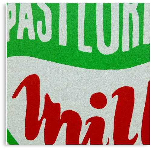 vintage Milk Top limited edition hand printed hand drawn pop art Silk screen prints by Patrick Edgeley