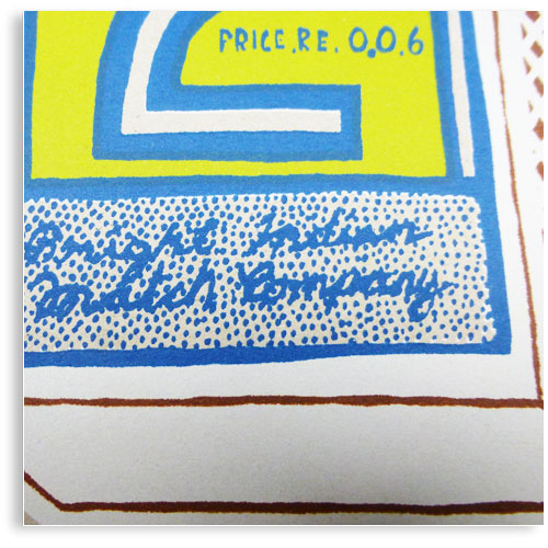 vintage Indian Matchbox limited edition hand printed hand drawn pop art Silk screen prints by Patrick Edgeley