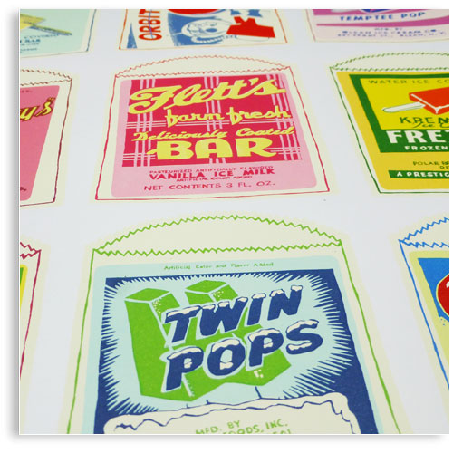 Retro Ice Lolly's limited edition hand printed pop art Silk screen prints by Patrick Edgeley