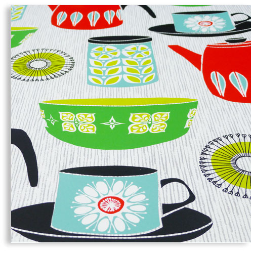 Vintage Retro Kitchenware hornsea katharine holmes limited edition hand printed hand drawn pop art Silk screen prints by Patrick Edgeley