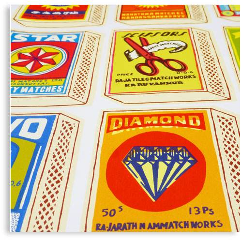 Vintage Indian Matchboxes limited edition hand printed hand drawn pop art Silk screen prints by Patrick Edgeley