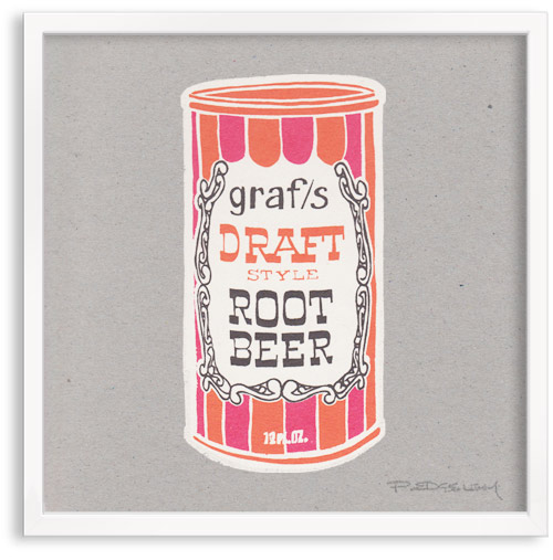 vintage Soda Can root beer limited edition hand printed hand drawn pop art Silk screen prints by Patrick Edgeley