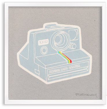 vintage Polaroid Camera limited edition hand printed hand drawn pop art Silk screen prints by Patrick Edgeley
