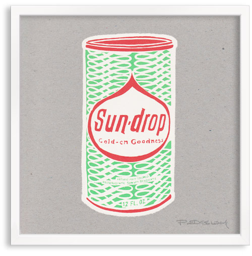 vintage Soda Can Sun Drop limited edition hand printed hand drawn pop art Silk screen prints by Patrick Edgeley
