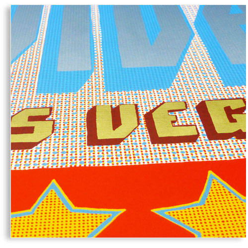 Viva Las Vegas limited edition hand printed hand drawn pop art Silk screen prints by Patrick Edgeley