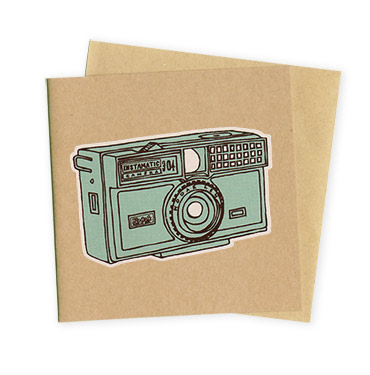 Instamatic camera - Hand Printed Greeting card by Patrick Edgeley