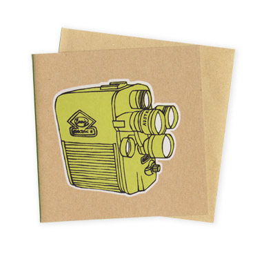 Cine Camera - Hand Printed Greeting Card - Patrick Edgeley