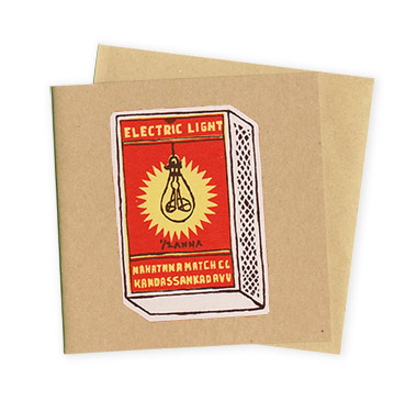 Electric Light Matchboxes - Hand Printed Greeting Card - Patrick Edgeley