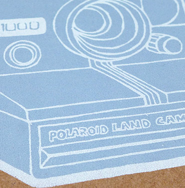 Polaroid camera - Hand Printed Greeting card by Patrick Edgeley