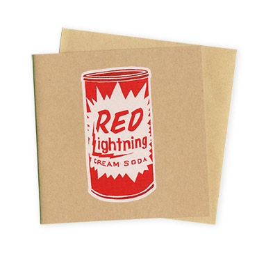 Red Lightning – Hand Printed Greeting Card