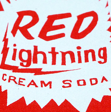 Red Lightning Soda Can - Hand Printed Greeting card by Patrick Edgeley