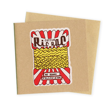 Ric Rac- Hand Printed Greeting Card - Patrick Edgeley