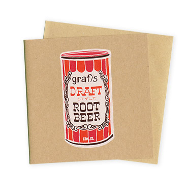 Root Beer Retro Soda Can- Hand Printed Greeting Card - Patrick Edgeley