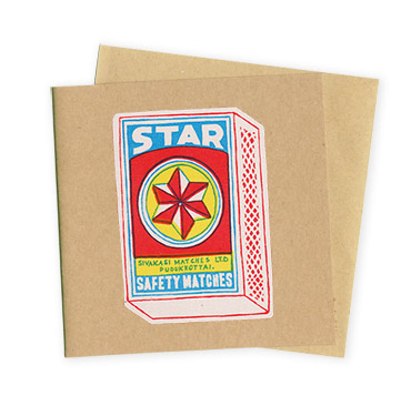 Star Matchbox- Hand Printed Greeting Card