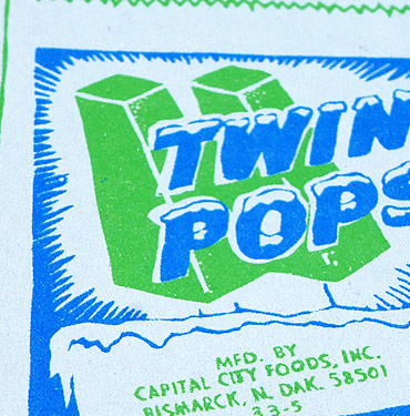 Twin Pops - Ice Lolly - Hand Printed Greeting Card - Patrick Edgeley