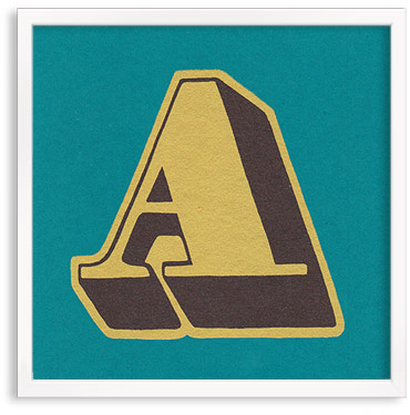 Hand printed letter A