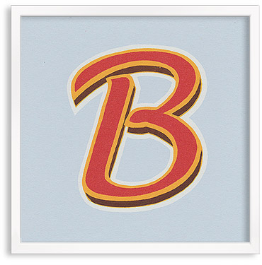Hand printed letter B