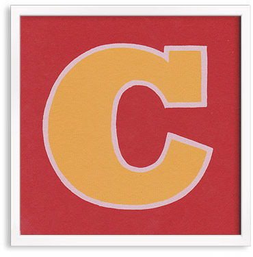 Hand printed letter C