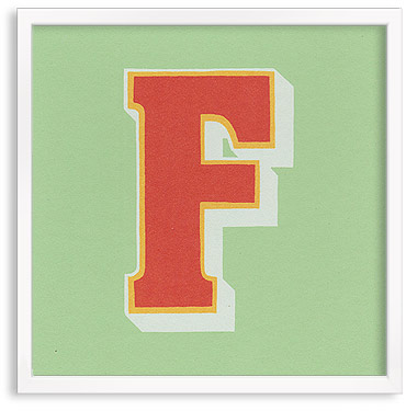 Hand printed letter F