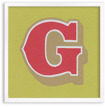 Hand printed letter G