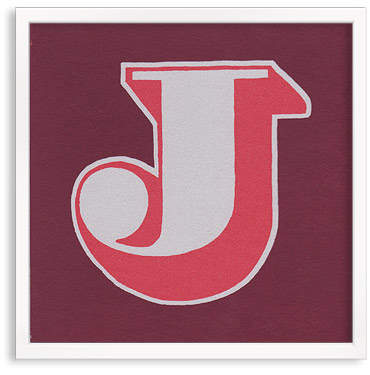 Hand printed letter J
