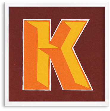 Hand printed letter K