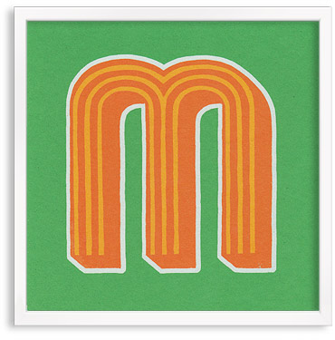 Hand printed letter M