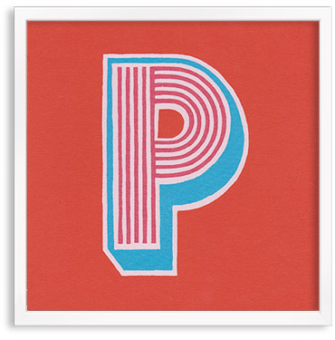 Hand printed letter P
