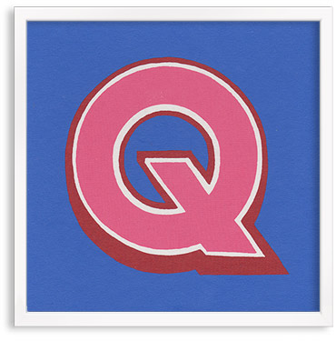 Hand printed letter Q