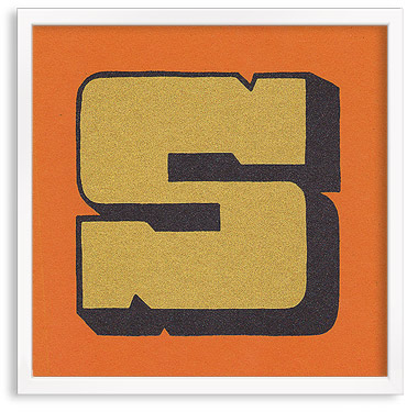 Hand printed letter S