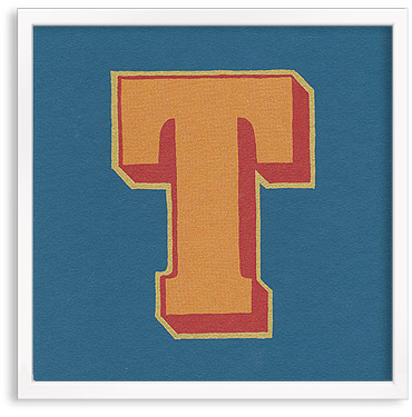 Hand printed letter T