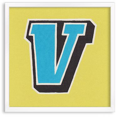 Hand printed letter V
