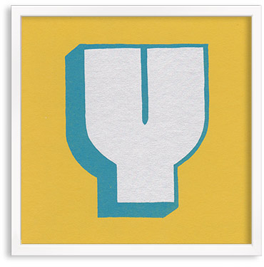 Hand printed letter Y